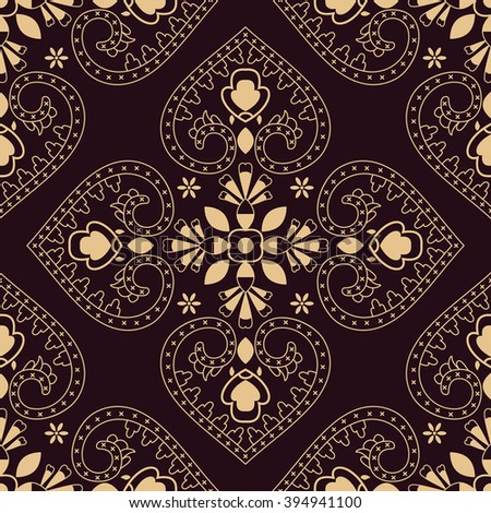 Floral oriental seamless vector pattern.  Beautiful wallpaper and curtains. - stock vector
