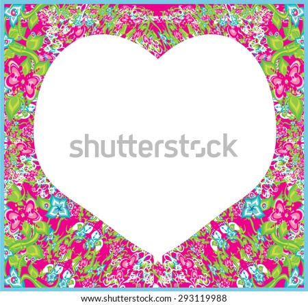 floral ornament and heart in the middle. - stock vector