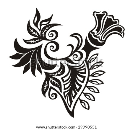 Floral Ornament. Decorative floral element for design or tattoo.