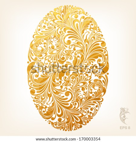 floral ornament design element in oval form, vector illustration - stock vector
