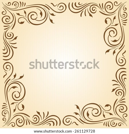 Floral ornament frame in brown with copy space on it's center. - stock vector
