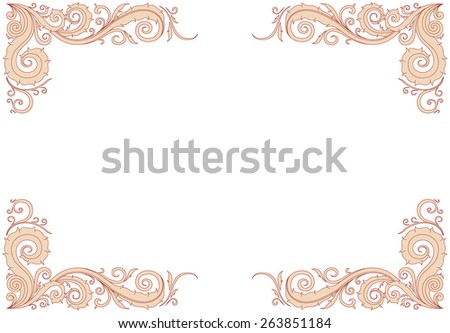 Floral ornament frame in red and cream with copy space on the center. - stock vector