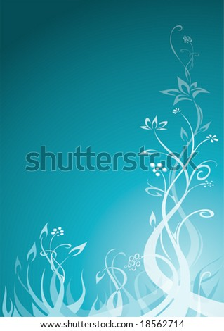 floral ornament in blue 2