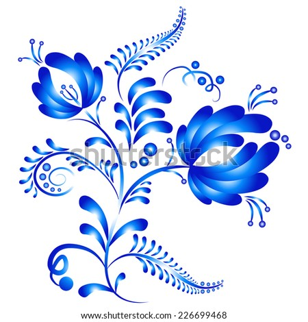 Floral ornament in Gzhel style. Russian folklore. Blue gzhel flowers isolated on white. Vector illustration