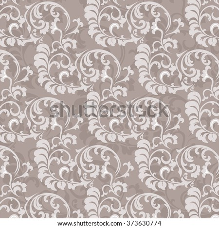 Floral ornament pattern in beige color. Vector