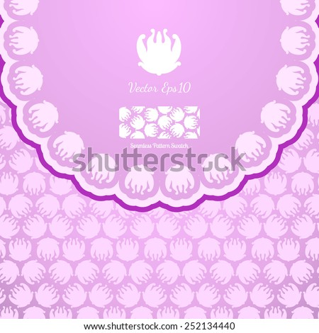 Floral ornament. Pattern seamless background. Logo water Lily. Envelope design letters, invitations, etc - stock vector