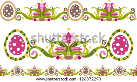 Floral ornament with eggs and decorative flowers / design elements, vector illustration - stock vector