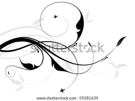 Floral ornament with leaf, element for design, vector illustration - stock vector