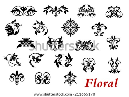 Floral ornamental elements and vignettes in damask style isolated on white for design and ornate - stock vector