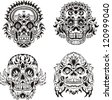 Floral ornamental skulls. Set of black and white vector illustrations. - stock vector