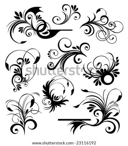 Floral ornaments 2 - stock vector