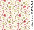 Floral ornate seamless pattern. Endless texture with ornamental fantasy flowers and leaves. Template for design and decoration - stock vector