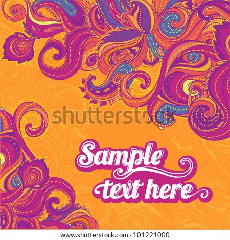Floral paisley vector colorful ornate frame - stock vector