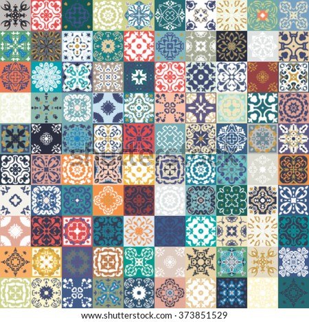 Floral Patchwork Tile Design Colorful Moroccan Stock Vector