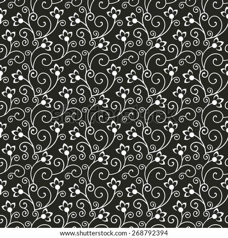 Floral pattern. Black and white seamless background with decorative flowers and curls. Vector illustration. - stock vector