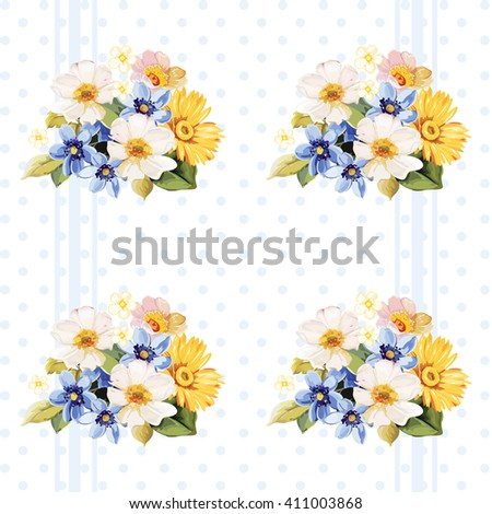 Floral pattern blue white yellow flowers Vector Illustration EPS8 - stock vector