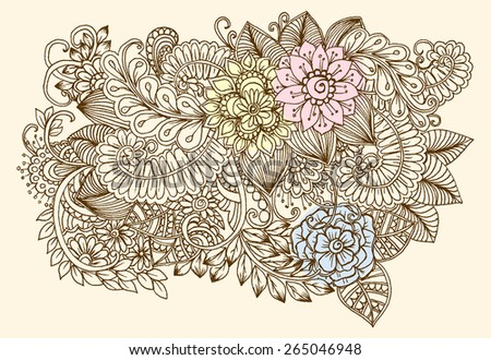 Floral pattern. Bouquet of flowers. Vintage image - stock vector
