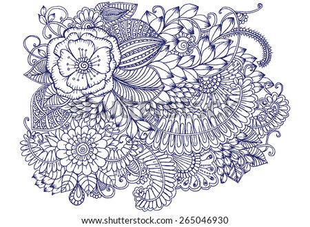 Floral pattern. Bouquet of flowers. Zentangle drawing - stock vector
