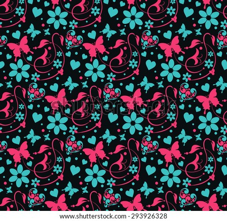 Floral pattern. Butterfly. Wallpaper background for Your design. Template for decorating books, postcards, wallpaper, wall, web design. Background in style vintage. Vector illustration - stock vector
