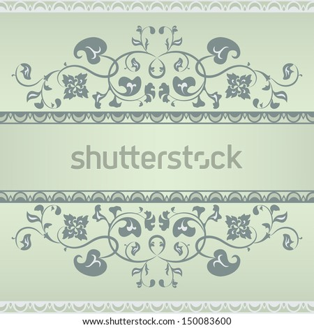 Floral pattern frame. Green and Grey - stock vector