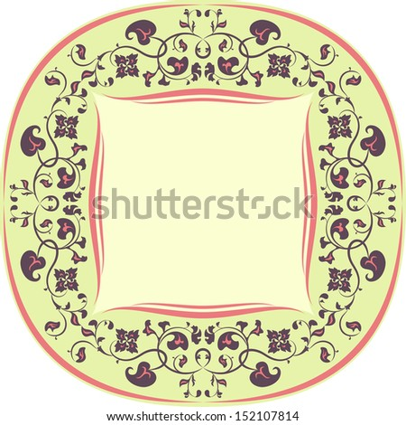 Floral pattern frame. Round. Yellow, Brown and Coral - stock vector