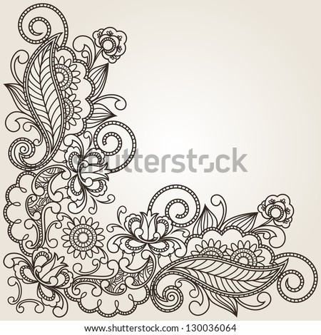 floral pattern hand drawing illustration - stock vector