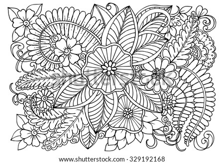 Floral pattern in black and white. Vector doodle flowers for coloring - stock vector