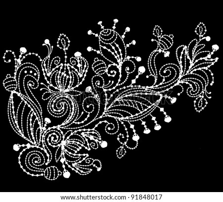 floral pattern is embroidered with white thread on black background - stock vector