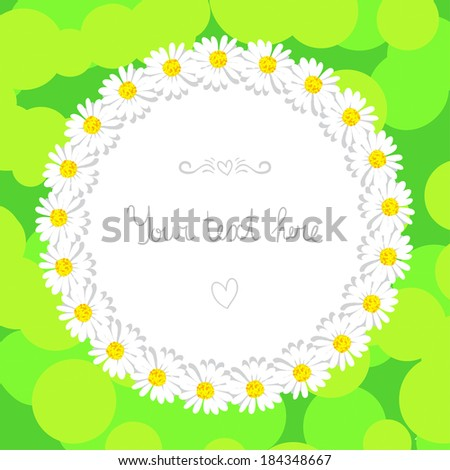 Floral pattern of daisies on a green background