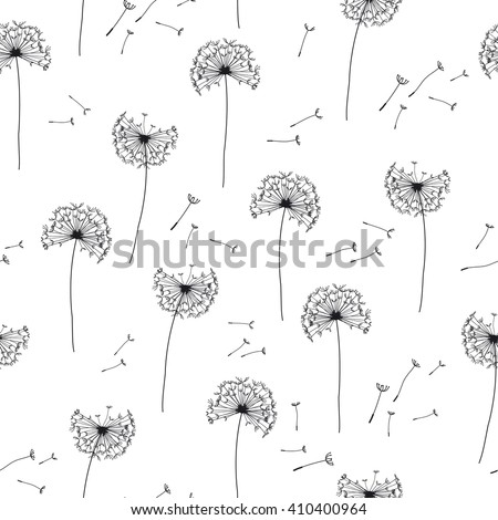 Floral pattern of dandelions. Seamless simple background with flying dandelion - stock vector