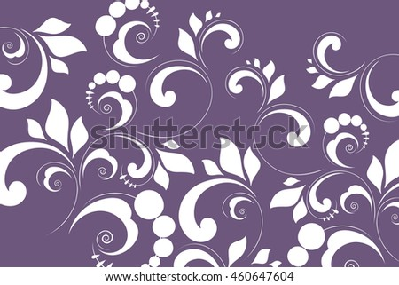 Floral pattern of flowers and leaves. Vegetable lilac background with white ornament.
