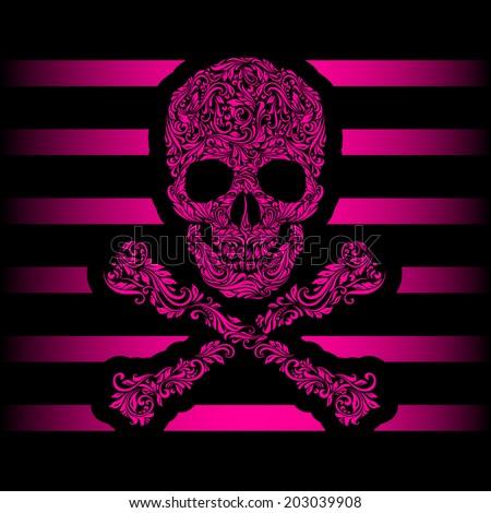 Floral pattern of form pink skull and crossbones. Pink stripes. Emo - stock vector
