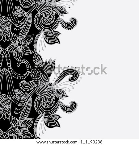 floral pattern on gray