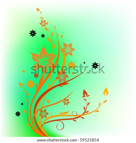 floral pattern on greenish background - stock vector