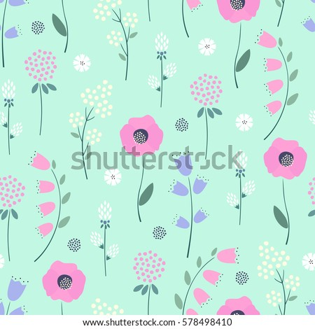 Floral Pattern On Mint Green Background Cute Spring Colorful Flowers Seamless