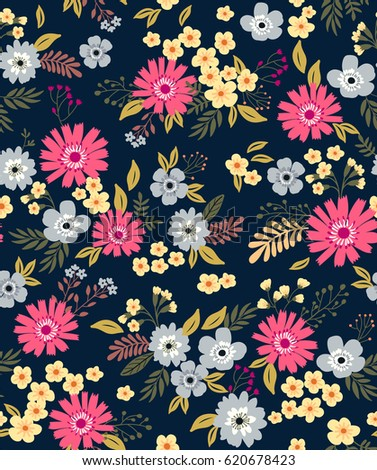 Floral pattern pretty flowers on dark stock vector 620678423 floral pattern pretty flowers on dark violet background printing with small scale pink mightylinksfo