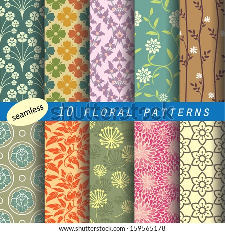 floral pattern's unit collection 1 for making  seamless wallpaper. retro color style, fully editable color and shape. partial preview image. - stock vector