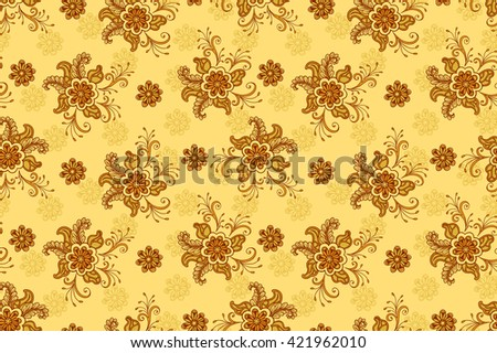 Floral Pattern, Seamless Background, Tile Ornament, Symbolic Flowers and Leafs. Vector - stock vector