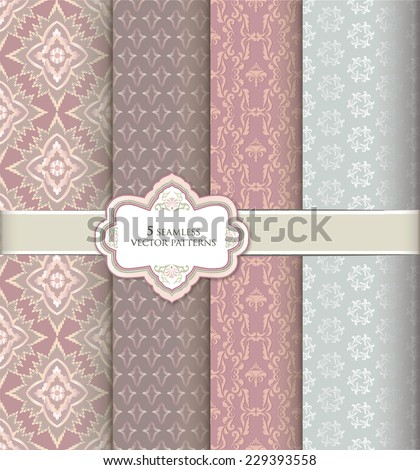 Floral pattern set in vintage style. Abstract vector textured background collection. - stock vector