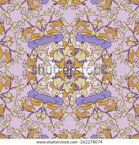 Floral Pattern style heraldic or upholstery. With leaves that intertwine and central flower. - stock vector
