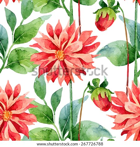Floral pattern. Vector seamless background. Red dahlias - stock vector
