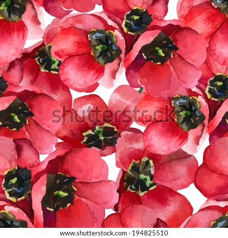 Floral pattern. Vector seamless background. Red tulips  - stock vector