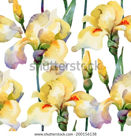Floral pattern. Vector seamless background. Yellow irises - stock vector