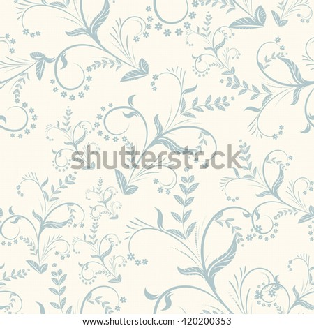 Floral pattern. vintage seamless pattern on light background.Decorative graphic curly pattern background with flowers and leaves. vector illustration