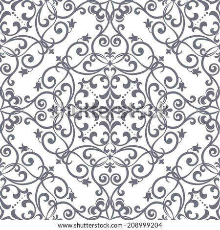 Floral pattern. Wallpaper baroque, damask. Seamless vector background. - stock vector