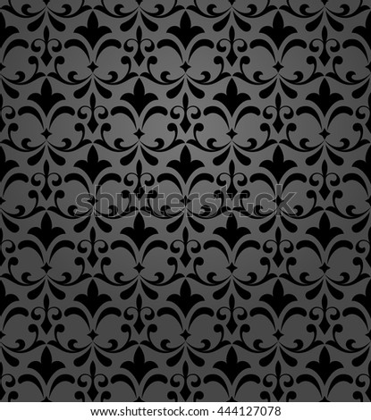 Floral pattern. Wallpaper baroque, damask. Seamless vector background. Black ornament. Stylish graphic pattern. - stock vector