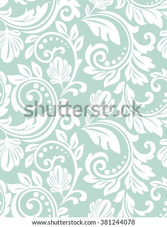 Floral pattern. Wallpaper baroque, damask. Seamless vector background. Blue and white ornament - stock vector