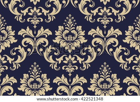 Floral pattern. Wallpaper baroque, damask. Seamless vector background. Gold and black blue ornament - stock vector
