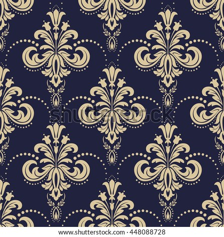Floral pattern. Wallpaper baroque, damask. Seamless vector background. Gold and black blue ornament. Stylish graphic pattern. - stock vector