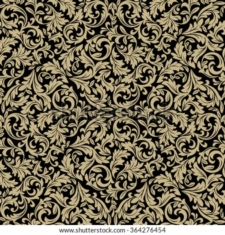 Floral pattern. Wallpaper baroque, damask. Seamless vector background. Gold and black ornament - stock vector